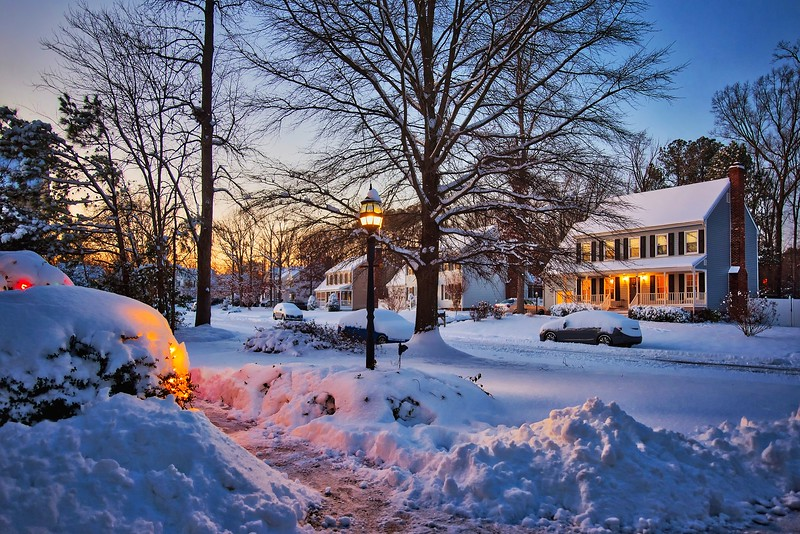 snow day blue hour