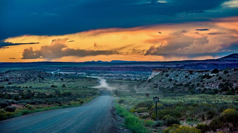dusty western road