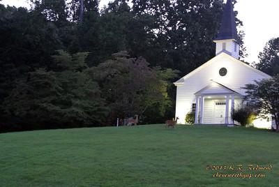 "Deer visiting the Manhattan Project Era ""Chapel on the Hill"", Oak Ridge, Tennessee)"