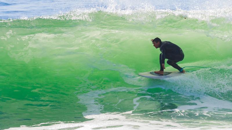 "Man Surfing ""Inside Bubble"" @ Santa Cruz"
