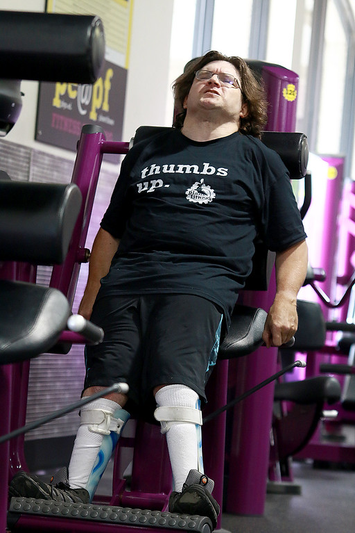 . Despite having cerebral palsy, Dwayne Boyd decided he wanted to start going to the gym for the first time at the age of 46. He started going to Planet Fitness in Leominster. This machine is to work out your back and is called the back extension machine. SENTINEL & ENTERPRISE/JOHN LOVE