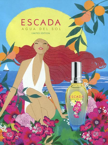 ESCADA Agua del Sol Limited Edition 2016 Spain<br /> <br /> ILLUSTRATOR:  Anja Kronencke