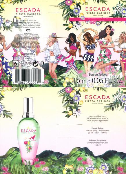 ESCADA Fiesta Carioca Limited Edition 2017 UK (4-face folding card for vial sample)