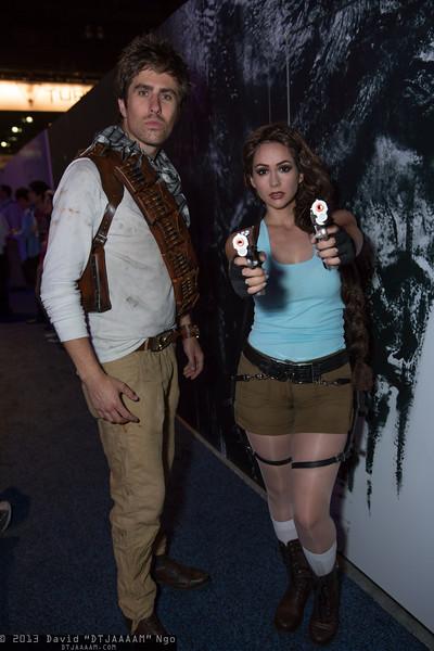 Nathan Drake and Lara Croft