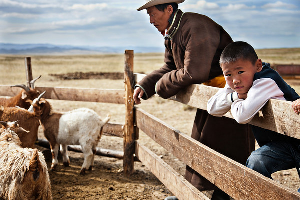Shepherd and Son - Mongolian Steppe