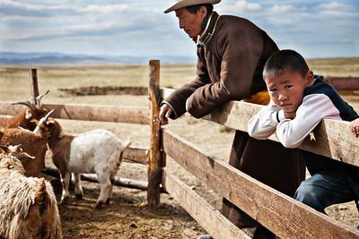 Shepherd and Son - Mongolian Steppe