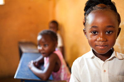 Beautiful little girl in the Ding Dong school in Zambia