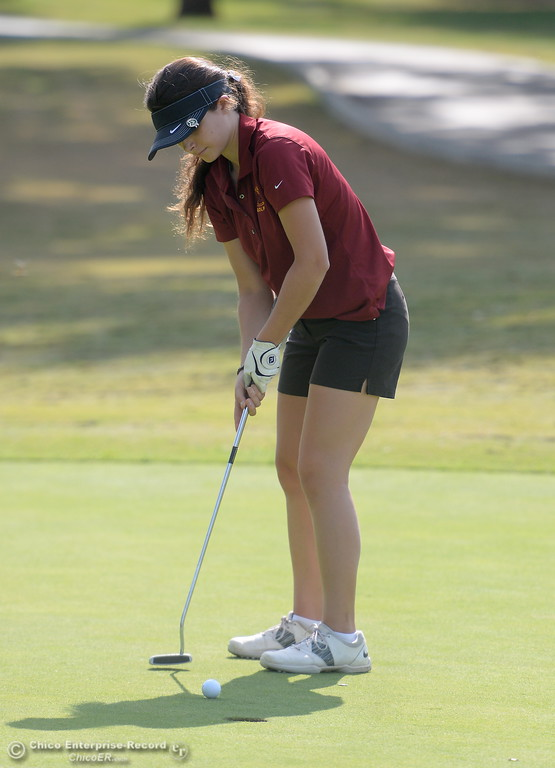 . Chico High golfer Mary Skillcorn putts during the Eastern Athletic- Sacramento River League girls golf championships at Butte Creek Country Club in Chico, Calif. Monday Oct. 16, 2017. (Bill Husa -- Enterprise-Record)