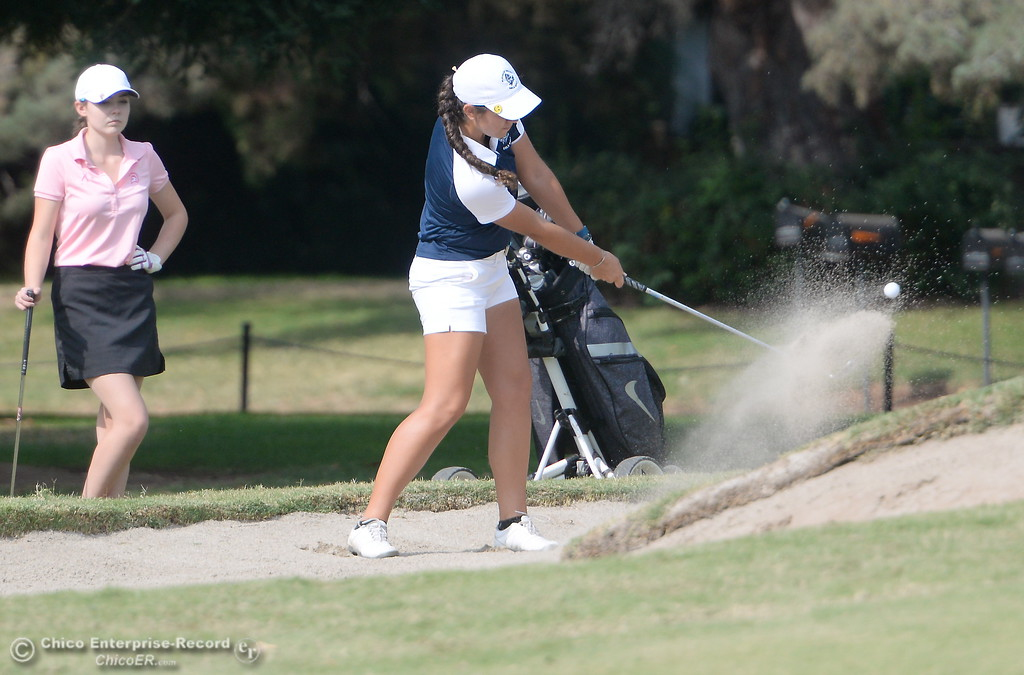 . PV Golfer Jackie Lucena hits one out of the bunker on the 10th hole  during the Eastern Athletic- Sacramento River League girls golf championships at Butte Creek Country Club in Chico, Calif. Monday Oct. 16, 2017. (Bill Husa -- Enterprise-Record)