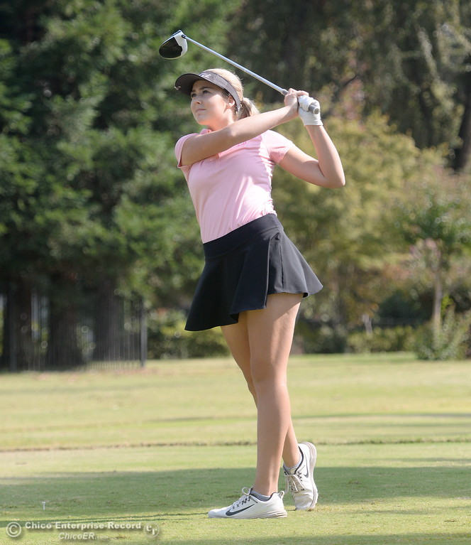 . Red Bluff High golfer Karli Rodriguez watches her drive on the 9th hole during the Eastern Athletic- Sacramento River League girls golf championships at Butte Creek Country Club in Chico, Calif. Monday Oct. 16, 2017. (Bill Husa -- Enterprise-Record)