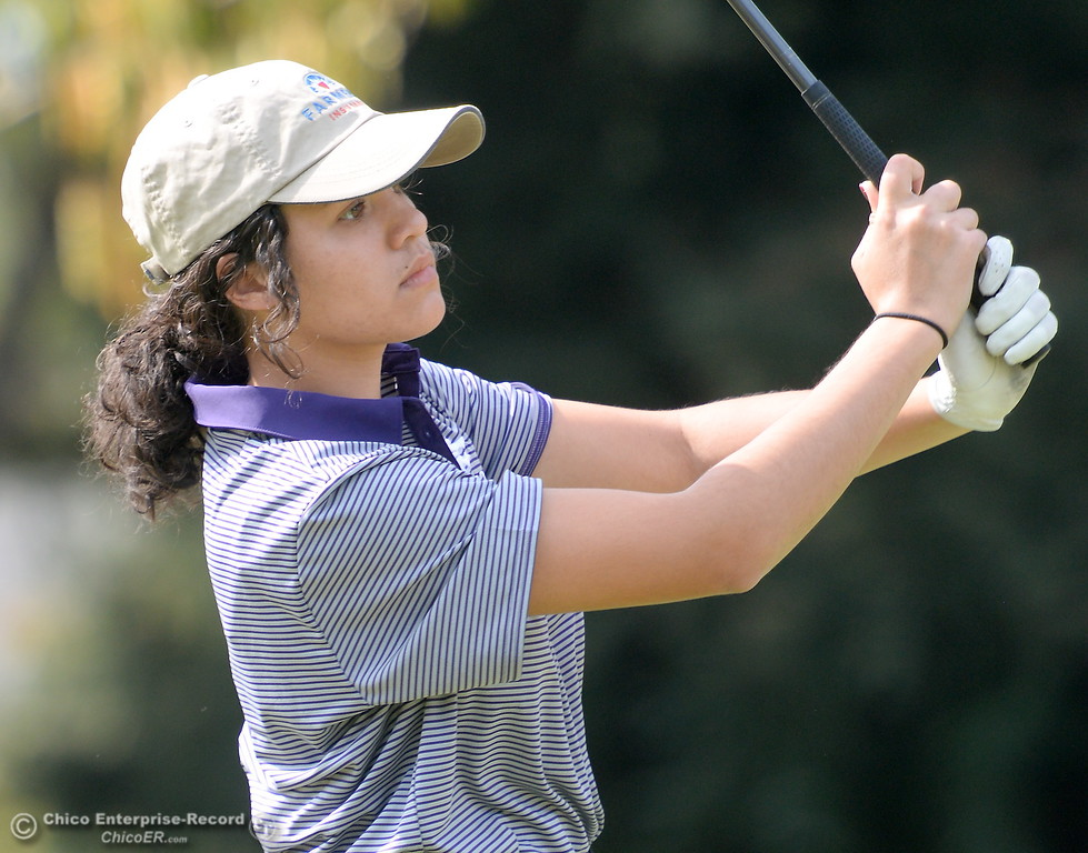 . Shasta High golfer Amy Sarti watches her drive on the 10th hole during the Eastern Athletic- Sacramento River League girls golf championships at Butte Creek Country Club in Chico, Calif. Monday Oct. 16, 2017. (Bill Husa -- Enterprise-Record)