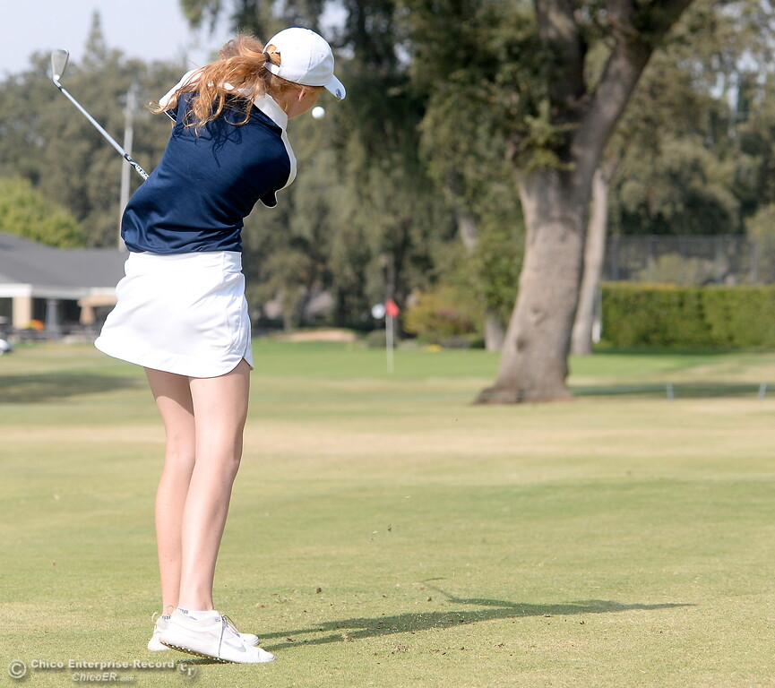 . PV golfer Erin Milliken watches her approach on the 9th hole green during the Eastern Athletic- Sacramento River League girls golf championships at Butte Creek Country Club in Chico, Calif. Monday Oct. 16, 2017. (Bill Husa -- Enterprise-Record)