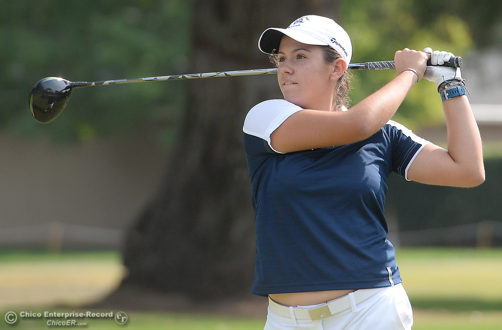 . PV Golfer Jackie Lucena watches her drive on the 10th hole  during the Eastern Athletic- Sacramento River League girls golf championships at Butte Creek Country Club in Chico, Calif. Monday Oct. 16, 2017. (Bill Husa -- Enterprise-Record)