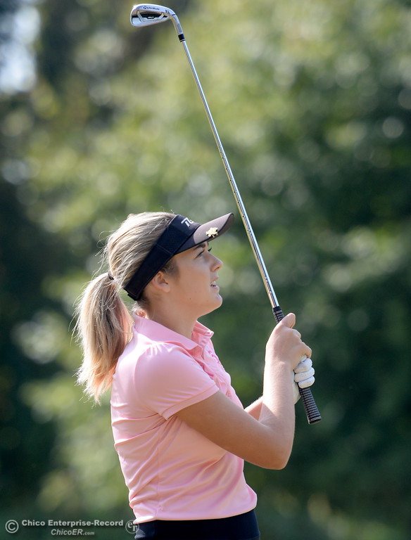 . Red Bluff golfer Karli Rodriguez watchs her shot during the Eastern Athletic- Sacramento River League girls golf championships at Butte Creek Country Club in Chico, Calif. Monday Oct. 16, 2017. (Bill Husa -- Enterprise-Record)