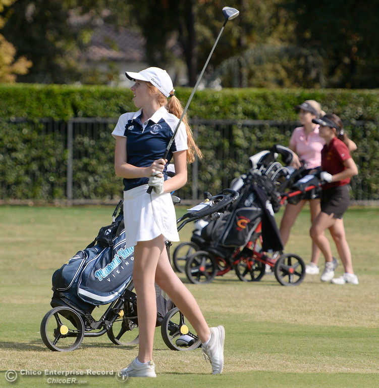 . PV High golfer Erin Milliken watches her drive on the 9th hole during the Eastern Athletic- Sacramento River League girls golf championships at Butte Creek Country Club in Chico, Calif. Monday Oct. 16, 2017. (Bill Husa -- Enterprise-Record)