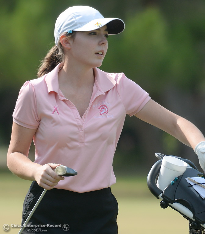 . Red Bluff golfer Hannah Huhn selects a club during the Eastern Athletic- Sacramento River League girls golf championships at Butte Creek Country Club in Chico, Calif. Monday Oct. 16, 2017. (Bill Husa -- Enterprise-Record)