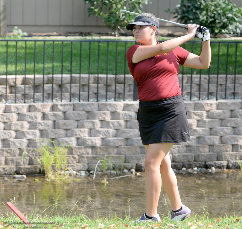 . Chico High Golfer Sophia Magana watches her shot from the rought during the Eastern Athletic- Sacramento River League girls golf championships at Butte Creek Country Club in Chico, Calif. Monday Oct. 16, 2017. (Bill Husa -- Enterprise-Record)