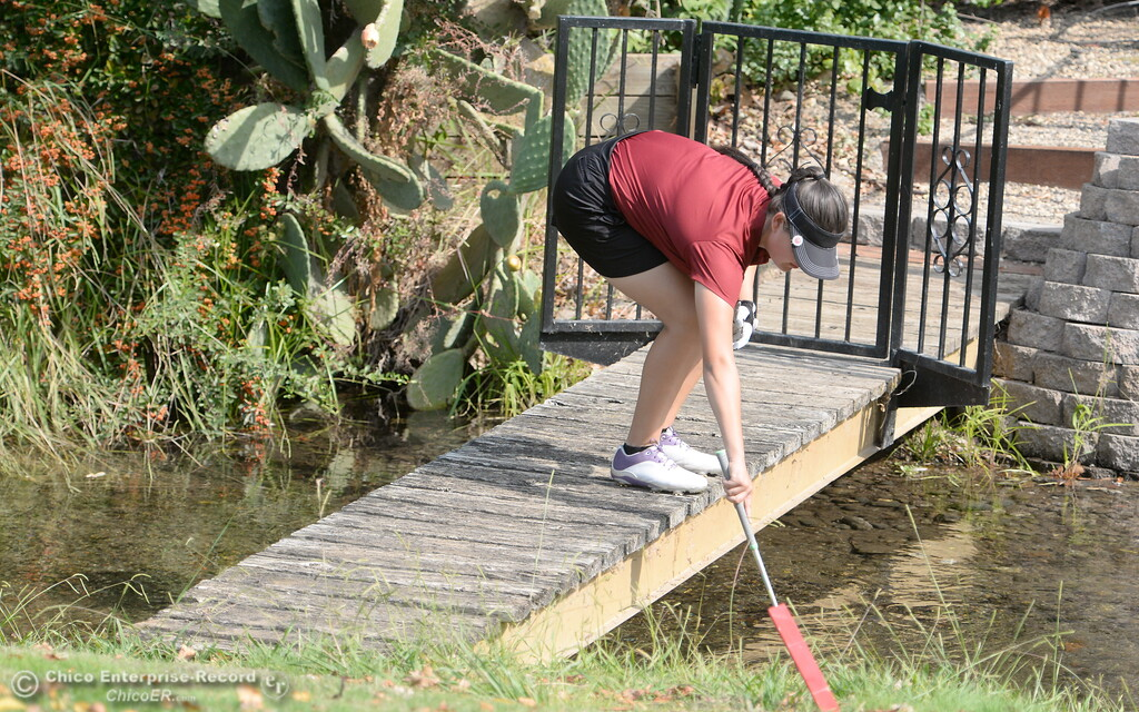 . Chico High Golfer Sophia Magana gets her ball out of a bad spot during the Eastern Athletic- Sacramento River League girls golf championships at Butte Creek Country Club in Chico, Calif. Monday Oct. 16, 2017. (Bill Husa -- Enterprise-Record)