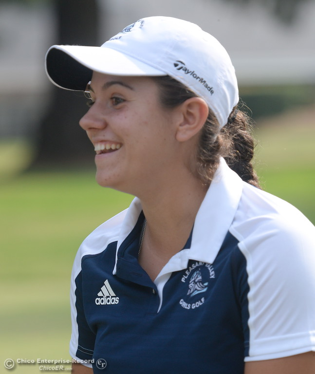 . PV Golfer Jackie Lucena smiles during the Eastern Athletic- Sacramento River League girls golf championships at Butte Creek Country Club in Chico, Calif. Monday Oct. 16, 2017. (Bill Husa -- Enterprise-Record)