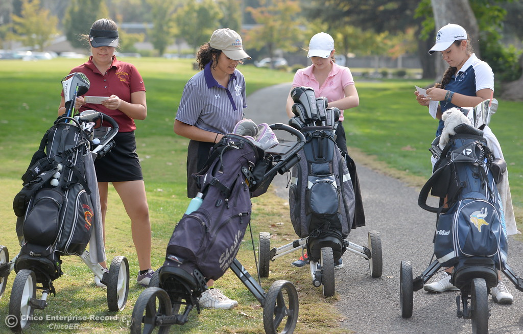 . Left to right, Sophia Magana Chico High, Amy Sarti Shasta High, Hannah Huhn Red Bluff and Jackie Lucena PV High get ready to tee off during the Eastern Athletic- Sacramento River League girls golf championships at Butte Creek Country Club in Chico, Calif. Monday Oct. 16, 2017. (Bill Husa -- Enterprise-Record)