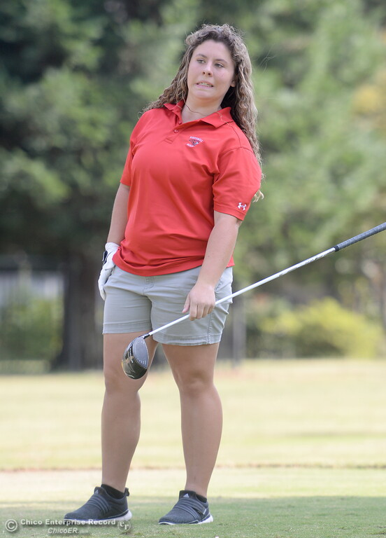 . Foothill High golfer Lucy Thomason watches her shot during the Eastern Athletic- Sacramento River League girls golf championships at Butte Creek Country Club in Chico, Calif. Monday Oct. 16, 2017. (Bill Husa -- Enterprise-Record)