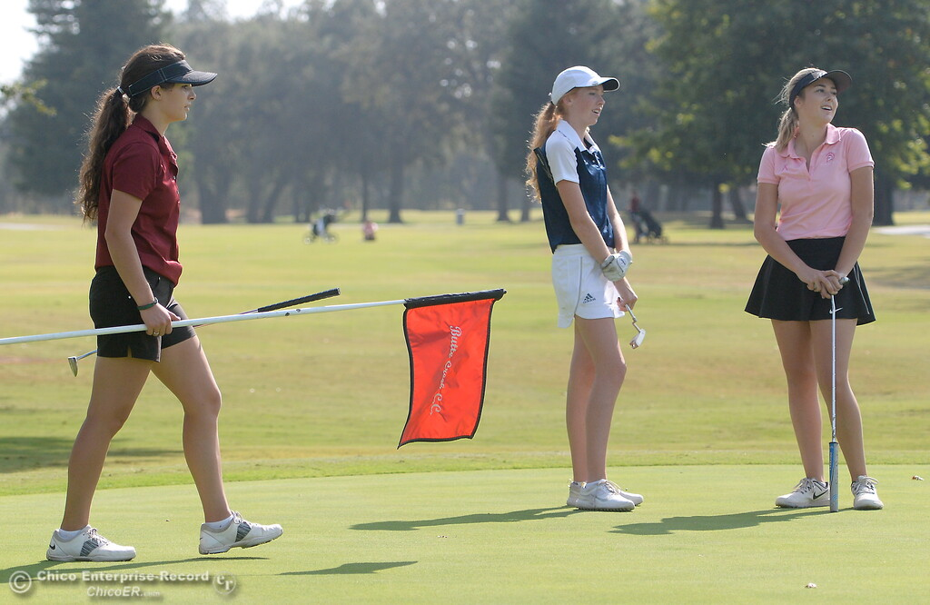 . Mary Skillcorn Chico High, PV Erin Milliken and Red Bluffs Karli Rodriguez left to righ are seen during the Eastern Athletic- Sacramento River League girls golf championships at Butte Creek Country Club in Chico, Calif. Monday Oct. 16, 2017. (Bill Husa -- Enterprise-Record)