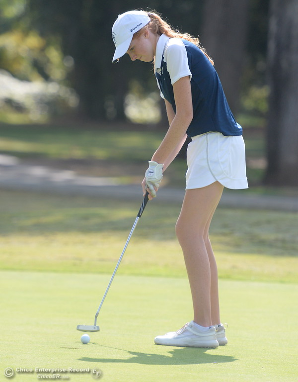 . PV golfer Erin Milliken putts during the Eastern Athletic- Sacramento River League girls golf championships at Butte Creek Country Club in Chico, Calif. Monday Oct. 16, 2017. (Bill Husa -- Enterprise-Record)