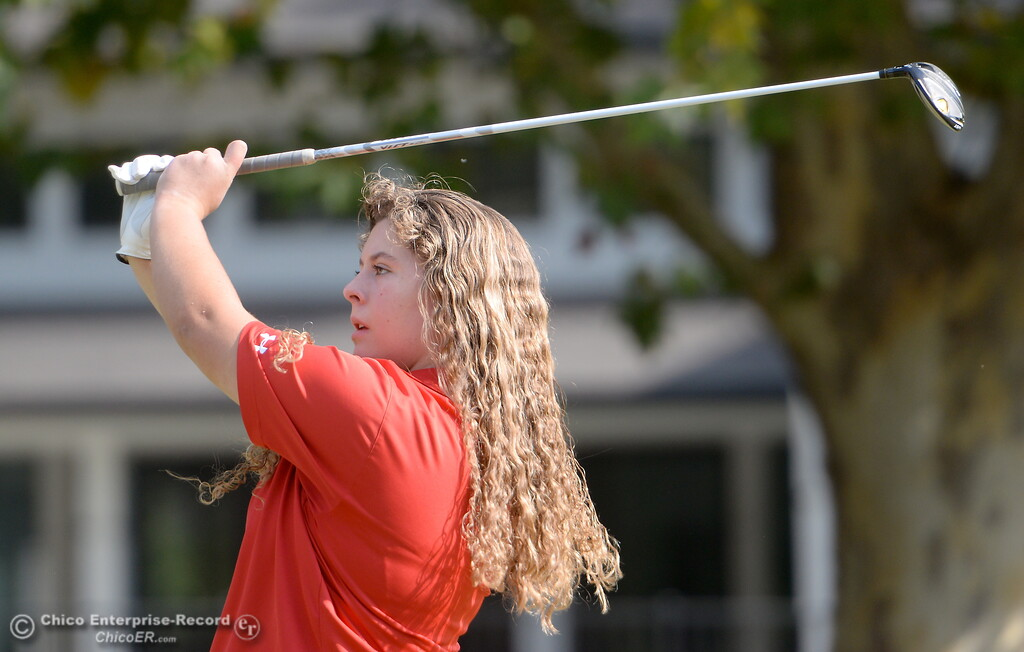 . Foothill High golfer Lucy Thomason hits her drive on the 9th hole during the Eastern Athletic- Sacramento River League girls golf championships at Butte Creek Country Club in Chico, Calif. Monday Oct. 16, 2017. (Bill Husa -- Enterprise-Record)