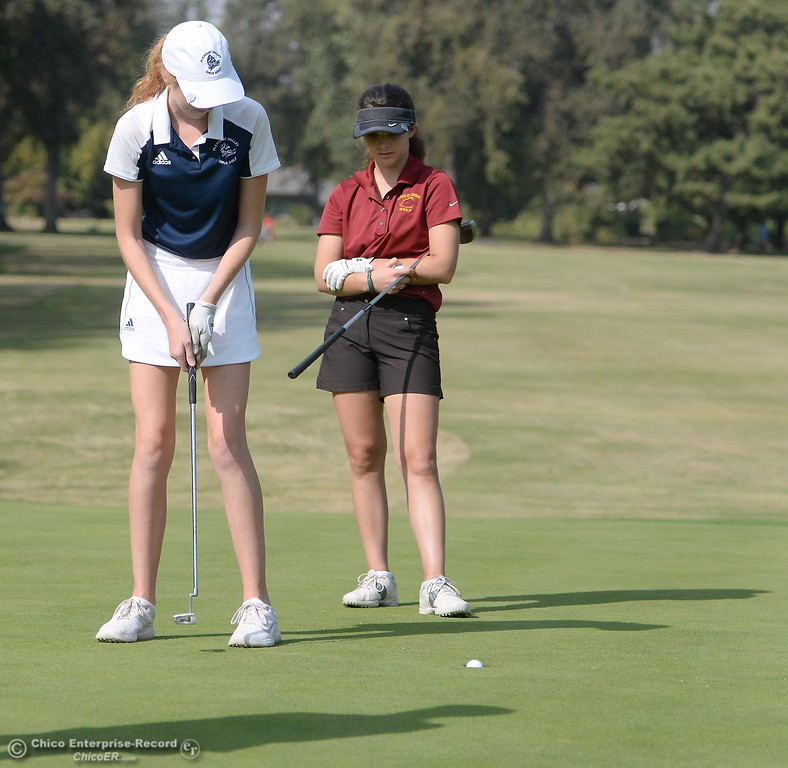 . PV High golfer Erin Milliken putts during the Eastern Athletic- Sacramento River League girls golf championships at Butte Creek Country Club in Chico, Calif. Monday Oct. 16, 2017. (Bill Husa -- Enterprise-Record)