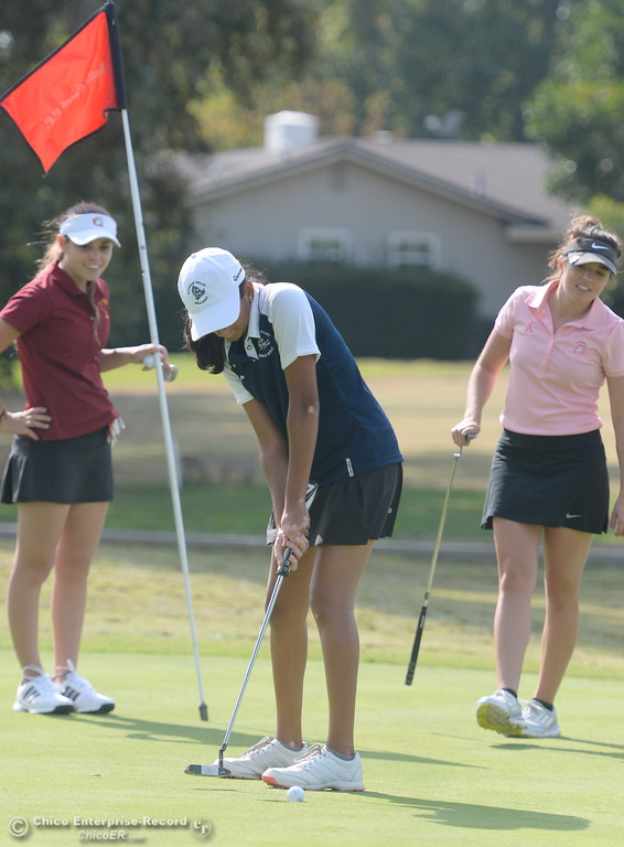 . PV golfer Kiran Singh putts during the Eastern Athletic- Sacramento River League girls golf championships at Butte Creek Country Club in Chico, Calif. Monday Oct. 16, 2017. (Bill Husa -- Enterprise-Record)