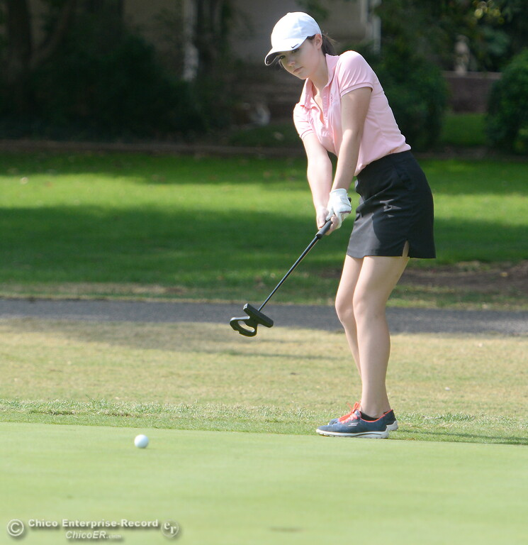 . Red Bluff golfer Hannah Huhn hits a putt on the 10th hole during the Eastern Athletic- Sacramento River League girls golf championships at Butte Creek Country Club in Chico, Calif. Monday Oct. 16, 2017. (Bill Husa -- Enterprise-Record)