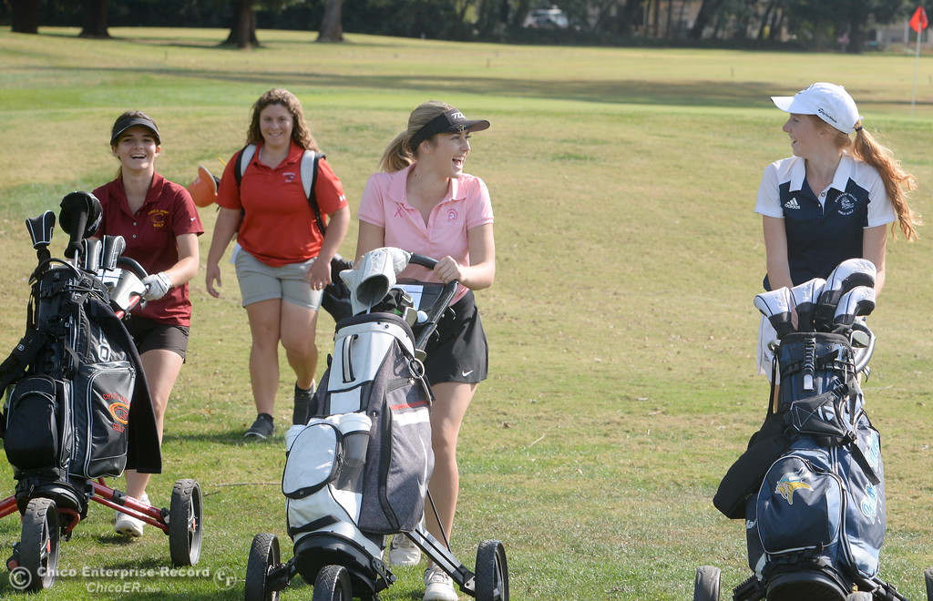 . Mary Skillcorn Chico High, Lucy Thomason Foothill High and Karli Rodriguez Red Bluff and PV\'s Erin Milliken left to righ are seen during the Eastern Athletic- Sacramento River League girls golf championships at Butte Creek Country Club in Chico, Calif. Monday Oct. 16, 2017. (Bill Husa -- Enterprise-Record)