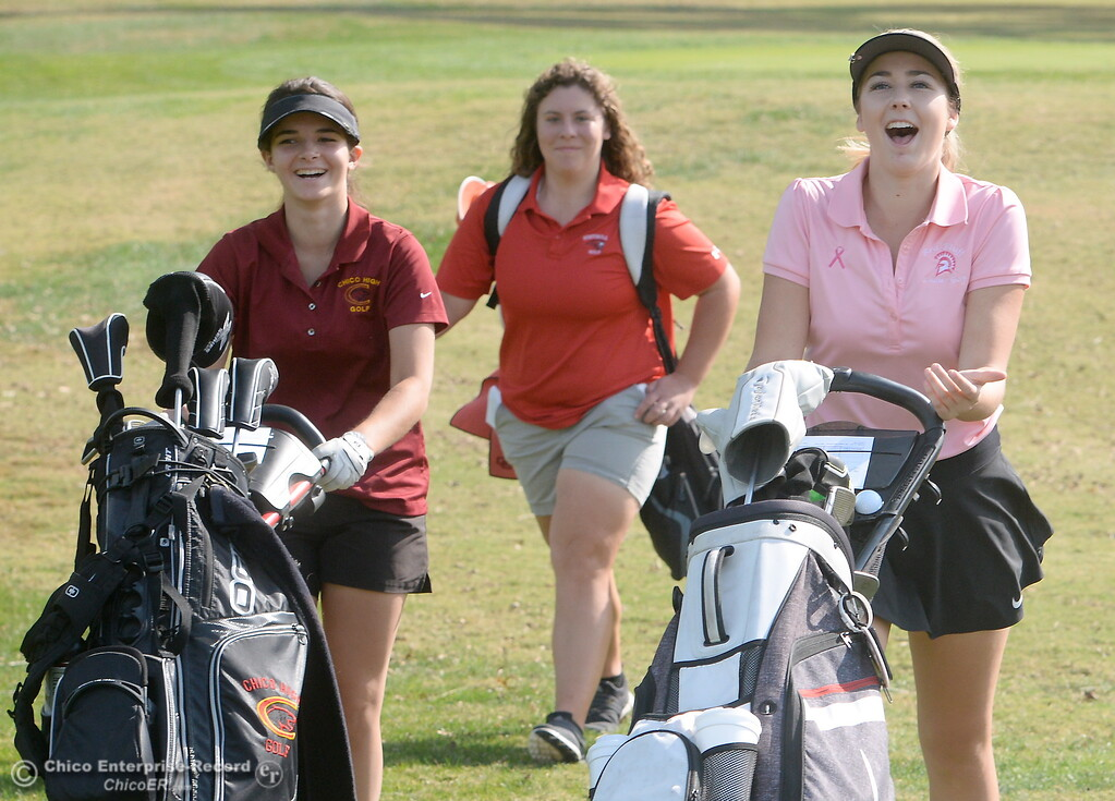 . Mary Skillcorn Chico High, Lucy Thomason Foothill High and Karli Rodriguez Red Bluff, left to righ are seen during the Eastern Athletic- Sacramento River League girls golf championships at Butte Creek Country Club in Chico, Calif. Monday Oct. 16, 2017. (Bill Husa -- Enterprise-Record)