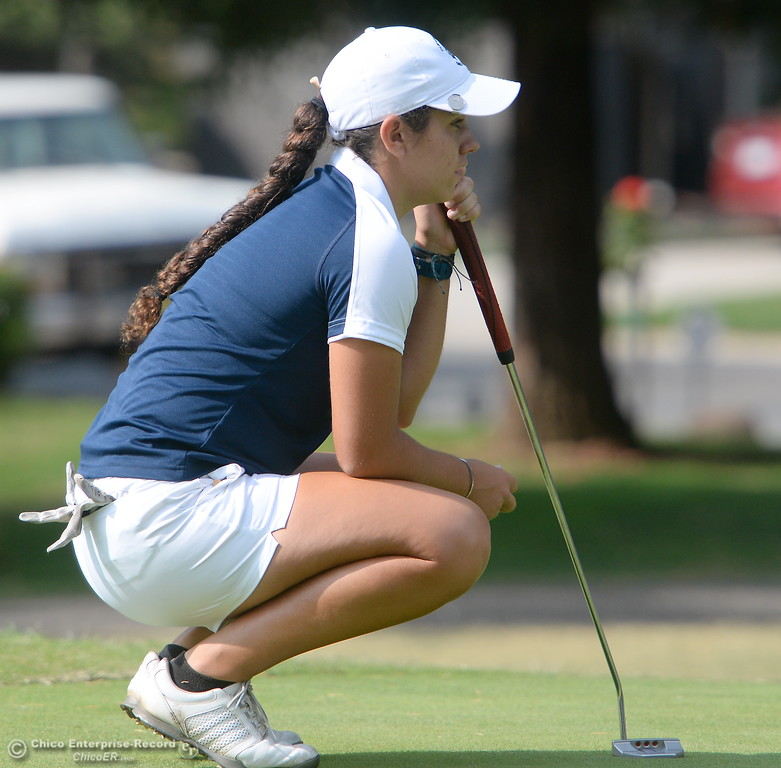 . PV Golfer Jackie Lucena eyes a putt on the 10th hole  during the Eastern Athletic- Sacramento River League girls golf championships at Butte Creek Country Club in Chico, Calif. Monday Oct. 16, 2017. (Bill Husa -- Enterprise-Record)