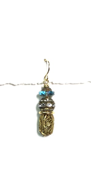 8-VB-RS CO49  CZECH SATURN BEAD WITH RHINESTONE AND VINTAGE BASKET BEAD