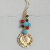 8-RM123-OCT CO34  BRONZE MIRACULOUS MEDAL EAR WITH ONYX, CORAL AND TURQUOISE
