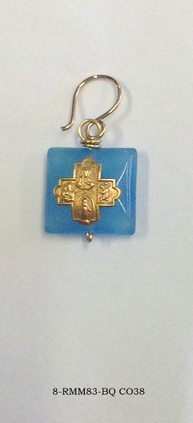 8-RM83-BQ CO38  TINY 4 WAY CROSS ON BLUE QTZ