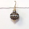 8-BRS C069  LARGE  AGED RHINESTONE BEAD ON GOLD FILLED WIRE
