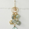 8-AQ-GP CO48  AQUA QUARTZ AND GREEN AND GOLD PEARLS ON GOLD FILLED CIRCLE CHAIN