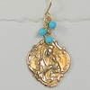 8-RM107-TQ CO38  MADONNA MEDAL WITH TURQUOISE