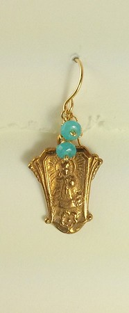 """8-RM208-BA CO35  INFANT JESUS OF PRAGUE WITH BLUE AGATE  ABOUT 1"""" X 5/8"""""""