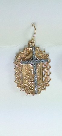 8-RM171/34- CO46  STERLING CROSS OVER BRONZE COMMUNION MEDAL