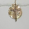 8-RM34-MOP CO42  BRONZE CROSS OVER PATTERNED MOTHER OF PEARL