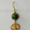 8-GA-RM123 CO36 ST JOSEPH MEDAL WITH GREEN AGATE IN BRONZE BEZEL