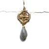 8467V-LAB CO52  VERMEIL CELTIC CROSS WITH LABRADORITE   ALSO IN BRONZE CO49