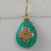 8-RM83-TQ CO35  TINY CROSS ON FAT TURQUOISE TEARDROP