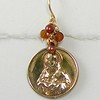 8-RM60-BPR CO38  SACRED HEART MEDAL WITH BROWN GARNET AND RUST PEARLS