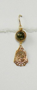 """8-PY-RM83-CO35  ST CHRISTOPHER MEDAL ON PYRITE BEAD WITH BRONZE CIRCLE BEZEL  1 1/4"""""""