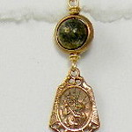 8-PY-RM83-CO35  ST CHRISTOPHER MEDAL ON PYRITE BEAD WITH BRONZE CIRCLE BEZEL  1 1/4""