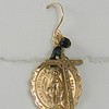 7-RM45-34OX CO43  MIRACULOUS MEDAL AND CROSS EAR WITH ONYX OR COULD BE BLUE JADE